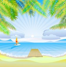 Free Travel . The Sea, Yachts, Palm Trees.Furlough . Royalty Free Stock Image - 35428226