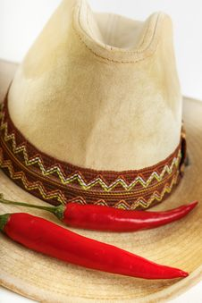 Chili With Hat Stock Photography