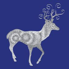 Free Silver Silhouette Of A Deer On A Blue Background. Stock Photos - 35432853