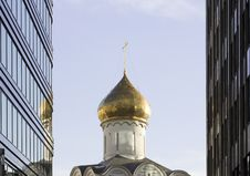 Free Orthodoxy Church Between Skyscrapers In Moscow Royalty Free Stock Photos - 35439288