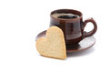 Free Black Coffee And Cookies In The Shape Of Heart, Isolated Stock Photos - 35443903