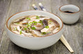 Free Chinese Food - Bowl Of Soup With Chicken, Shiitake Mushrooms Royalty Free Stock Images - 35443919