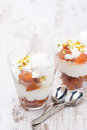 Free Dessert With Peaches, Whipped Cream And Meringue On White Table Stock Image - 35443981