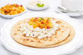 Free Flat Bread With Cottage Cheese With Honey, Nuts, Fresh Peaches Royalty Free Stock Images - 35443989