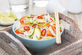 Free Thai Salad With Vegetables, Rice Noodles And Chicken In A Bowl Stock Image - 35444071