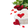 Free Wooden Box, Red Hearts And Roses For Valentine&x27;s Day Royalty Free Stock Image - 35444086