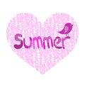 Free Summer Illustration, Heart And Bird Royalty Free Stock Photo - 35444885