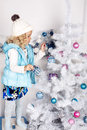Free Little Cute Girl With Christmas Tree Stock Photo - 35447800
