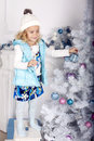 Free Little Cute Girl With Christmas Tree Royalty Free Stock Image - 35447886