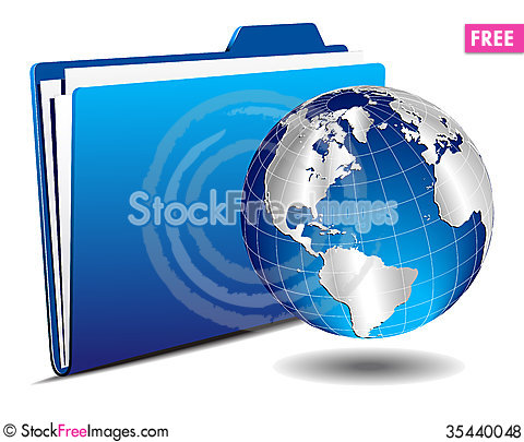 Free Earth Globe With Folder Royalty Free Stock Photos - 35440048