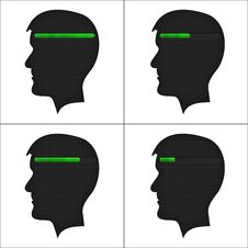 Free Set Of Heads With Loading Symbol. Stock Images - 35443894