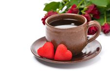 Free Cup Of Coffee, Red Candy, Gift And Roses For Valentine S Day Royalty Free Stock Images - 35443929