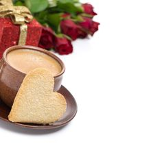 Coffee, Cookie In The Shape Of Heart, Gift And Roses Royalty Free Stock Photo