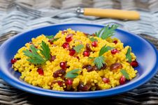 Free Couscous Salad With Curry, Cranberries And Herbs Royalty Free Stock Photo - 35443955