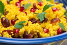 Free Couscous With Curry, Dried Cranberries And Herb, Selective Focus Royalty Free Stock Image - 35443956