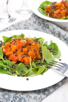 Salad With Arugula, Black Lentils And Vegetable Stew, Close-up Stock Photos