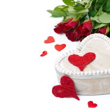 Wooden Box, Red Hearts And Roses For Valentine S Day Royalty Free Stock Image
