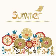 Free Decorative Card With A Summer Illustration Royalty Free Stock Image - 35444846