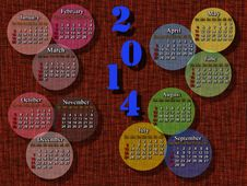 Calendar For 2014 Year On The Brown Background