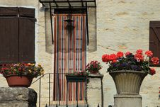 Free The Wall Of The House Decorated With Flowers, France Royalty Free Stock Photo - 35446165