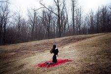 Free Woman In Black Dress And Long Hair Sitting On Red Carpet In Cold Forest Stock Images - 35447834