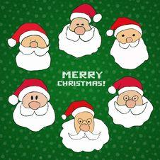 Free Santas Set Royalty Free Stock Images - 35449199