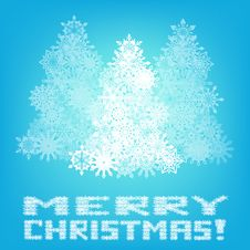 Merry Christmas Greeting Card With Blue Background Stock Photos