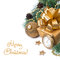 Free Composition With Golden Gift Box And Decorations, Isolated Stock Image - 35443941