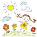 Free Childish Cartoon Drawing Stock Images - 35450574
