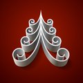 Free Silver 3d Christmas Tree On Red Background Stock Images - 35452644
