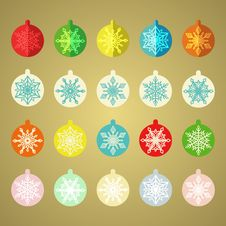 Set Of Vintage Christmas Balls Royalty Free Stock Image