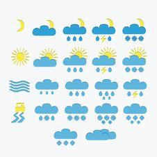Set Of Minimalistic Weather Icons Stock Photo