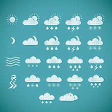 Free Pixel Weather Icons On Blue Background Stock Photography - 35450992