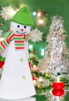 Christmas New Year Decoration With Snowman And Candles Stock Photography