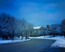 Free Winter Landscape With Road Royalty Free Stock Image - 35453136