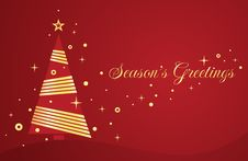 Vector Christmas Card With Tree. Stock Photography