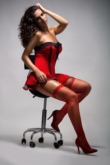 Free Sexy Girl In Red Dress Stock Photography - 35458862