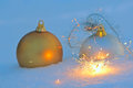 Free Bengal Light And Christmas Balls  In Snow Stock Photography - 35463762