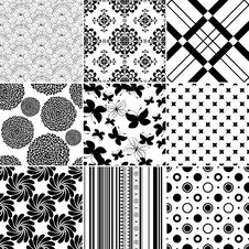 Set Seamless Vintage Pattern Royalty Free Stock Photography