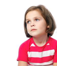 Free Portrait Of A Pretty Little Girl In Red Shirt On A White Backgro Stock Photos - 35460193