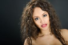 Free Attractive Mixed Woman On Black Background Stock Photography - 35461692