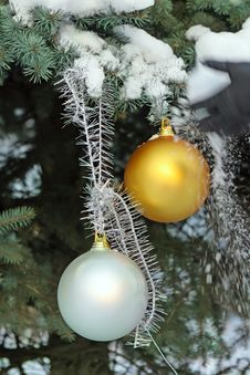 Christmas Balls On Fir-tree In Snow Stock Photography