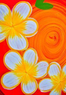 Frangipani Flowers Paint Stock Image