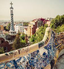 Mosaic Bench In Barcelona. Catalonia, Spain Stock Photo