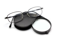 Free Eye Glasses And Magnifying Glass Isolated On White Royalty Free Stock Photos - 35473188