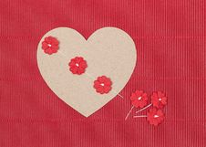 Free Cardboard Heart With Paper Flowers On Red Background Stock Photography - 35474082