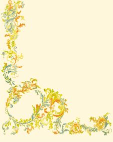 Free Decorative Ornamental Floral Page Classic Color Le Stock Images - 35476614