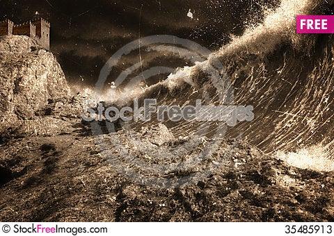 Free Tsunami And Fortress Stock Photos - 35485913