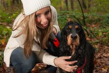 Free Blond Girl And Her Dog Stock Images - 35483284