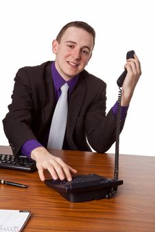 Free Businessman Calling Up Stock Photo - 35484100